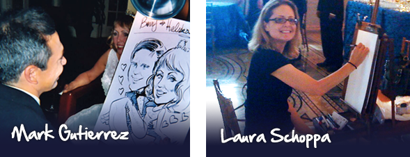 Mark Gutierrez and Laura Schoppa draw caricatures