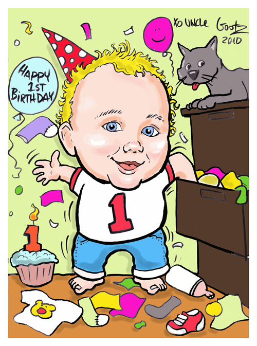 First birthday gift caricature!