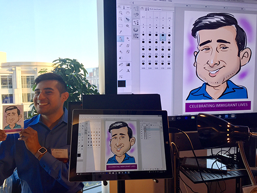 Live digital caricature on Surface tablet!