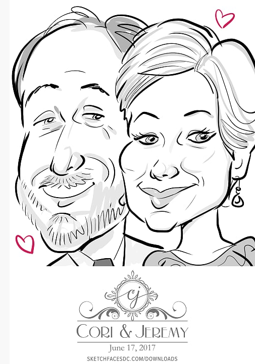 Black and white sketches from a wedding - more guests get drawn because its faster!
