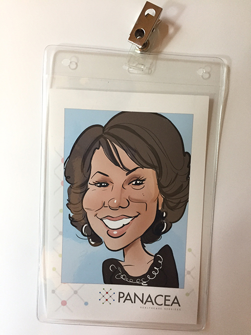 Caricature print in badge holder with clip!