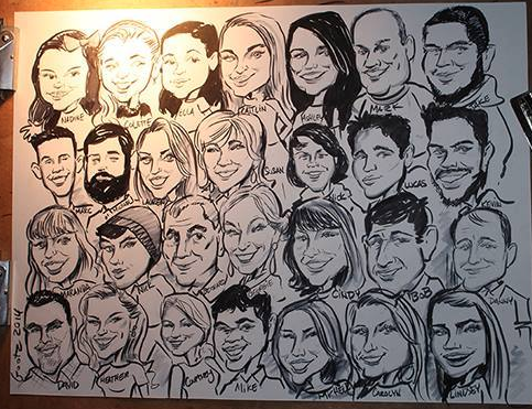 Live group caricature at a family reunion!