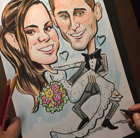 Wedding caricature in progress!