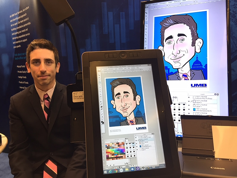 Live digital caricature at a conference