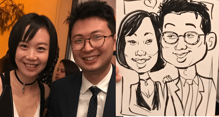 Live Caricatures for at holiday party
