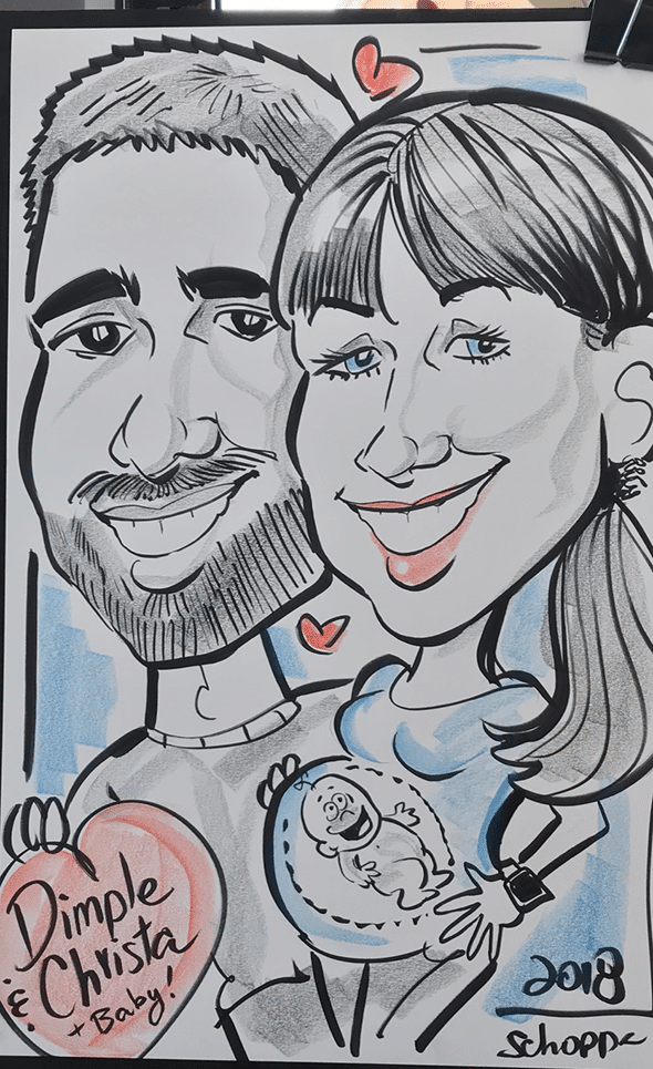 Pregnancy caricature party caricaturist arlington virginia