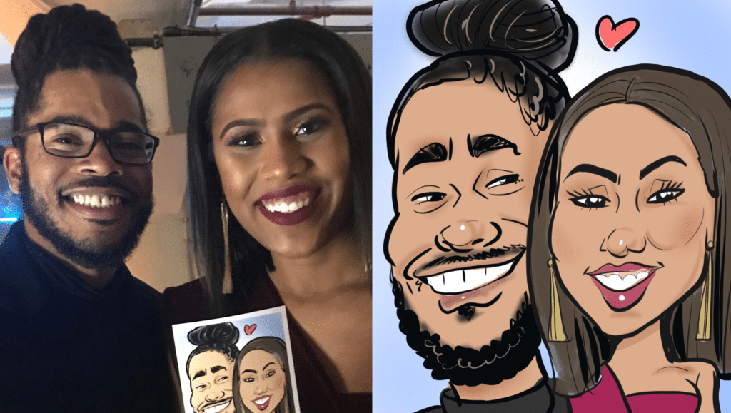 A couple get their caricature drawn at a company holiday party!