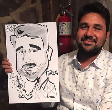caricature drawn at corporate team event