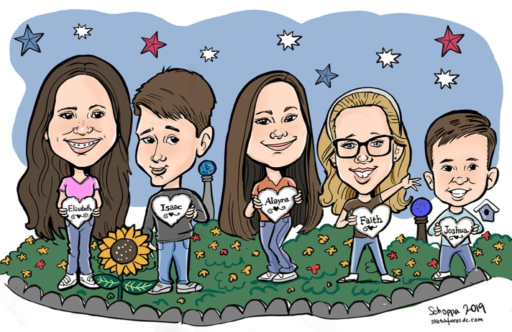 Digital caricature of grand kids.