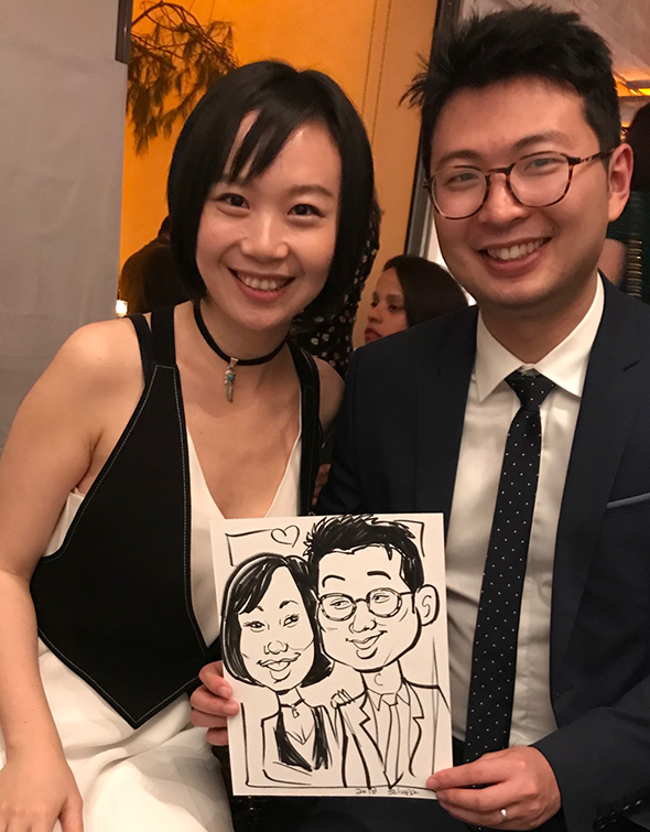 Caricature of couple at a holiday party