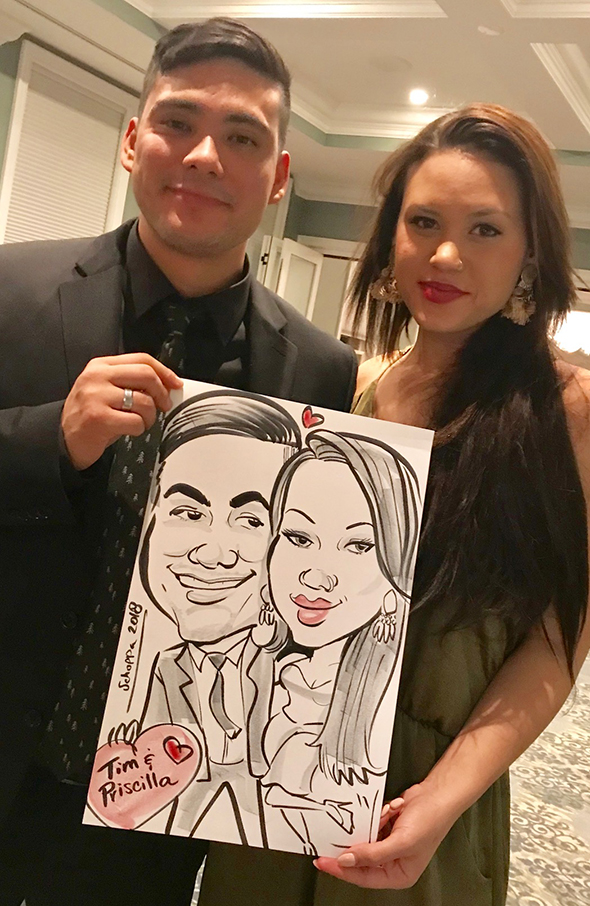 Live caricatures at wedding