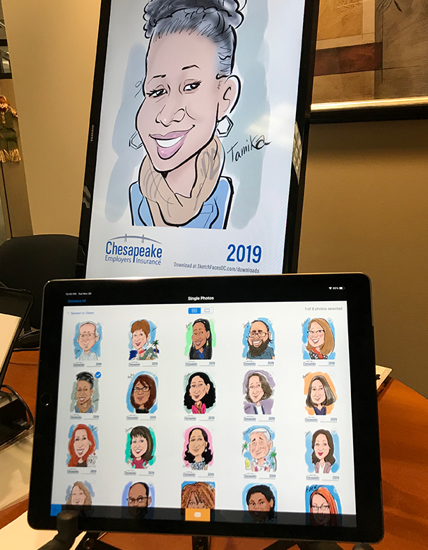 Our kiosk allows guests to email their caricature to themselves at the event!