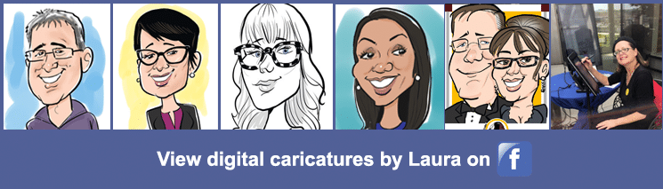 View digital caricature samples by Laura on our Facebook page