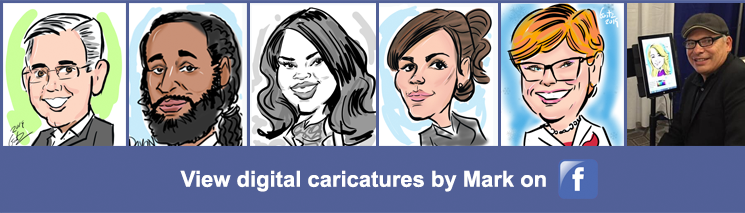 Click to view samples of Mark's digital caricatures on our Facebook page