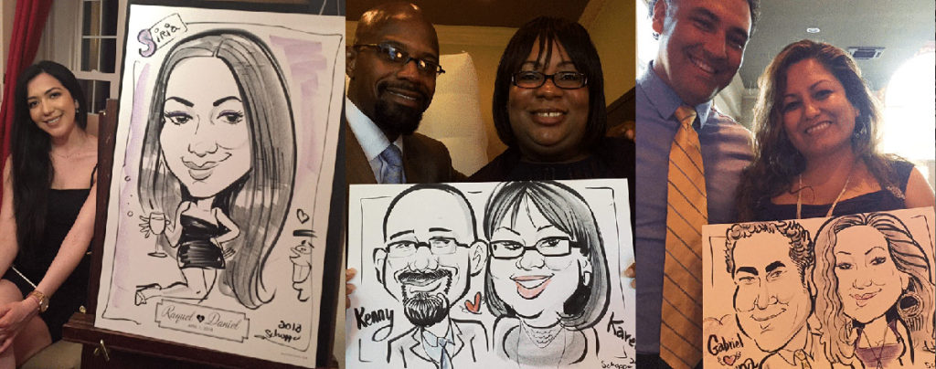 Couples caricature at a wedding!