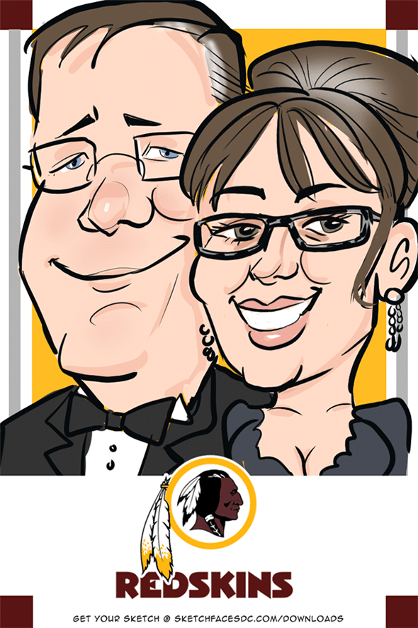 Downloadable digital caricature of redskins ticket holder