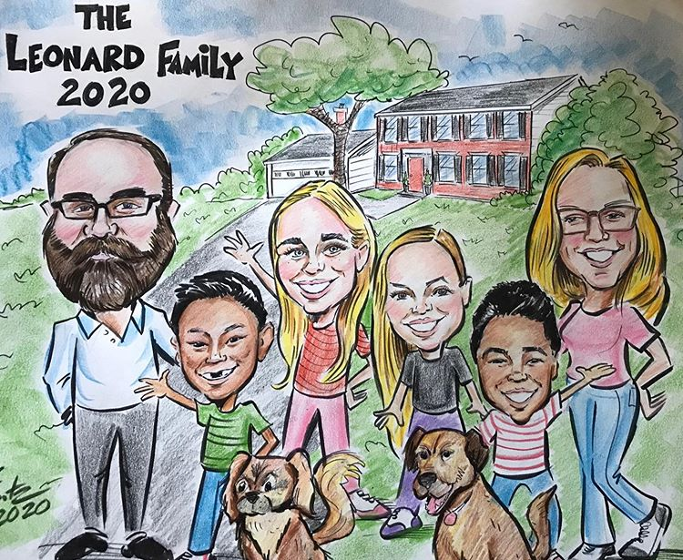 Traditional family caricature!