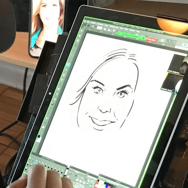 ZOOM Caricature drawn on Microsoft Surface Pro