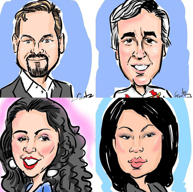 Digital caricatures drawn using Microsoft Surface Pro