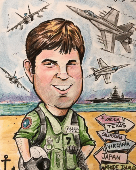 Retirement gift caricature for Navy Air Force member!