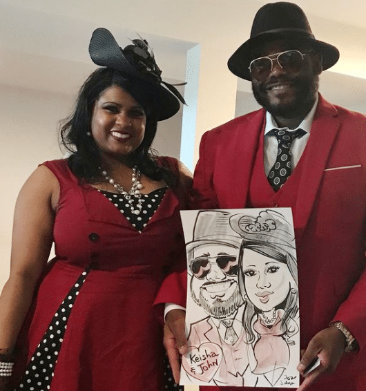 A couple poses with their caricature at a Kentucky Derby Party